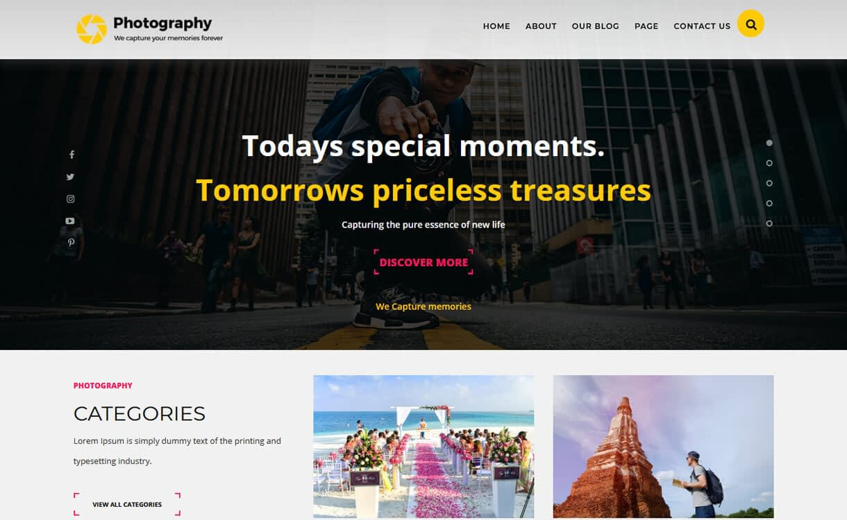 ts photography best free wodpress themes march - 21+ Best Free WordPress Themes March 2018