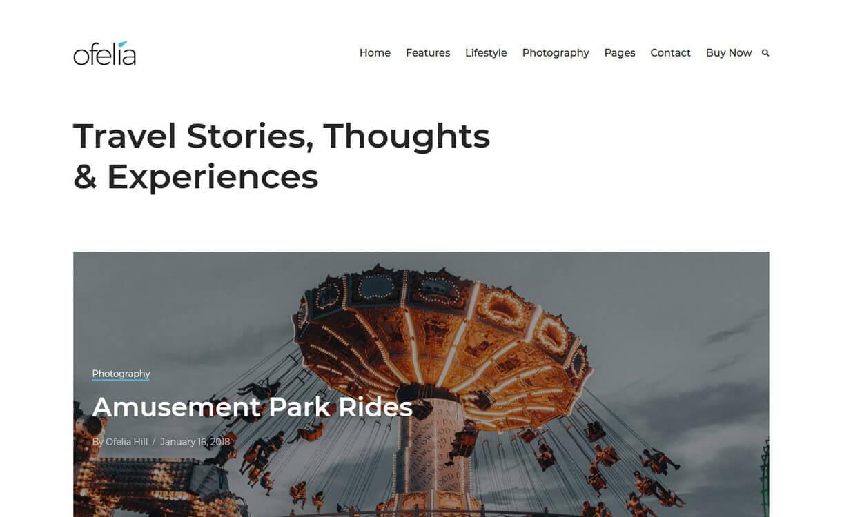 Ofelia-Best Travel Blogs WordPress Themes