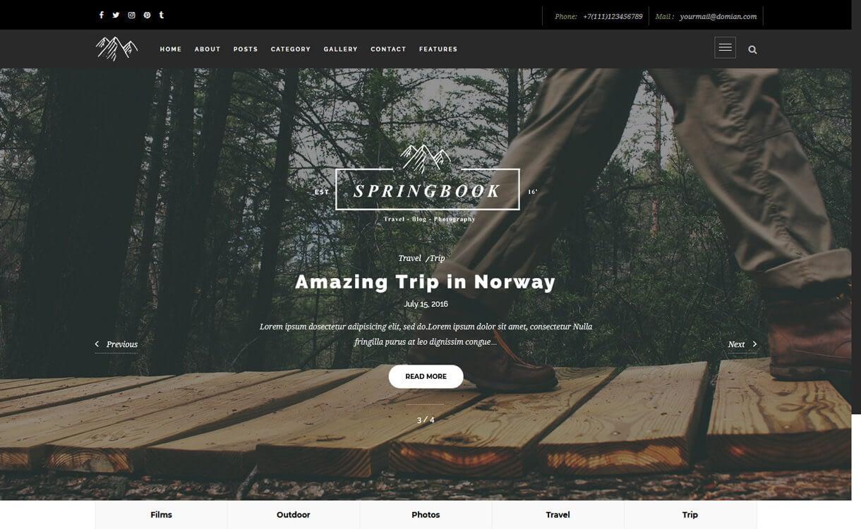 Springbook-Best Travel Blogs WordPress Themes