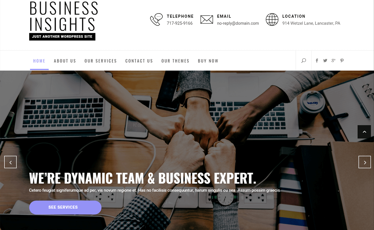 Business Insights – Just another WordPress site as Smart Object 1 - 21+ Best Free WordPress Themes June 2018