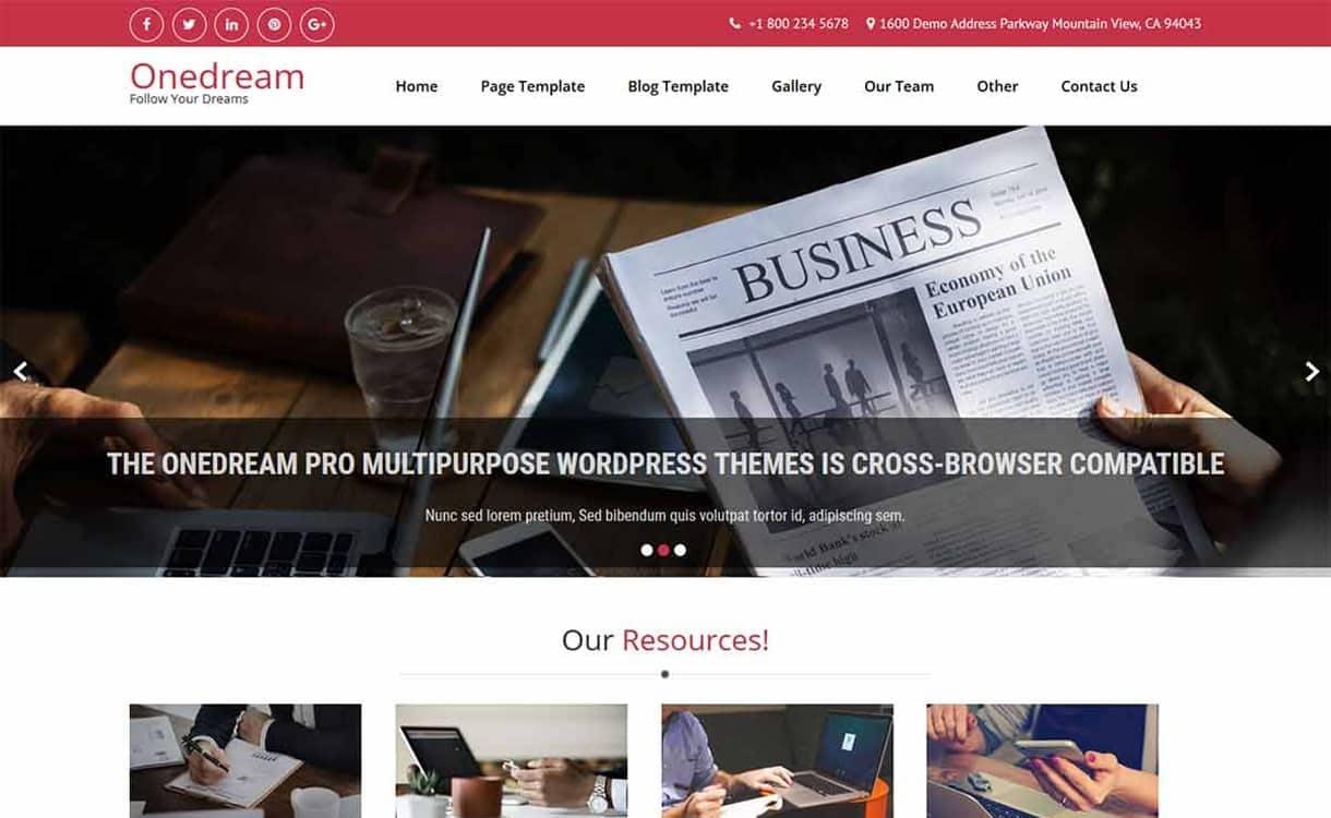 OneDream-Best Free WordPress Themes May 2018