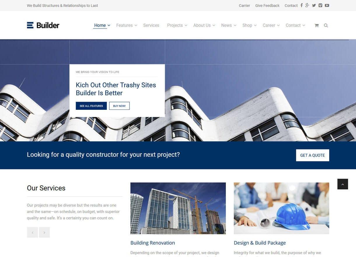 Builder-Best Premium WordPress Construction Company Themes 2018