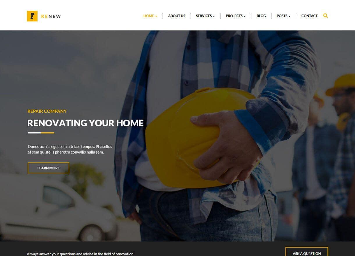 Renew-Best Premium WordPress Construction Company Themes 2018