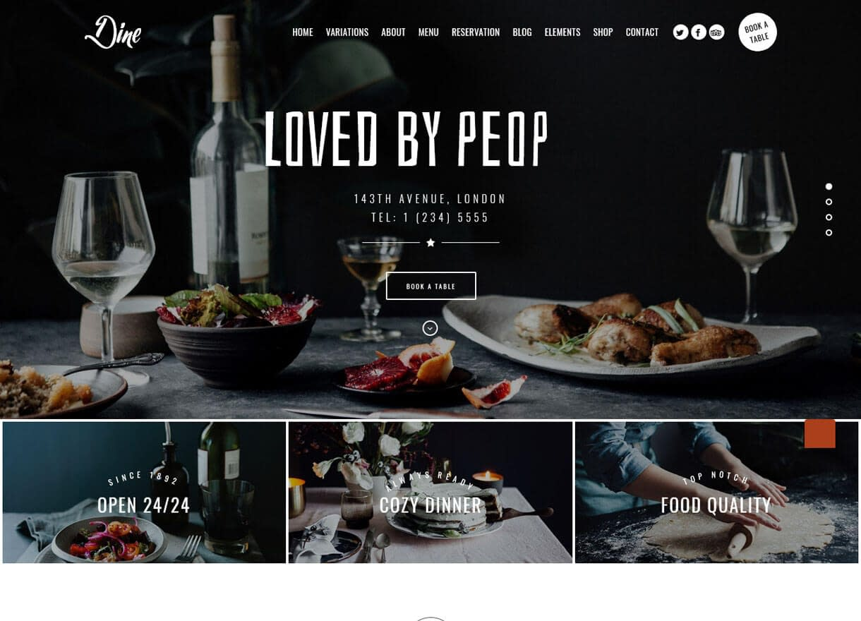 Dine-Best Cafe and Restaurant WordPress Themes