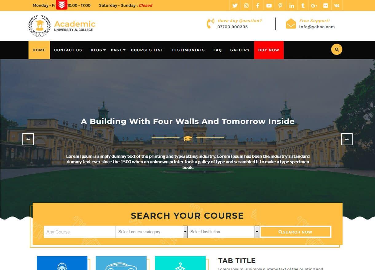 Academic Education-Best Free WordPress Themes April 2018