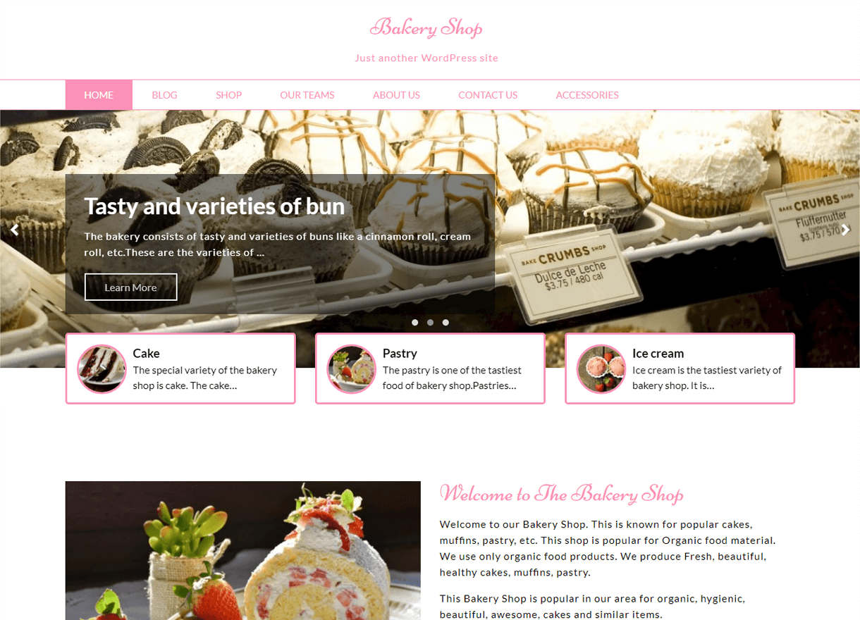 Bakery Shop-Best Free WordPress Themes April 2018