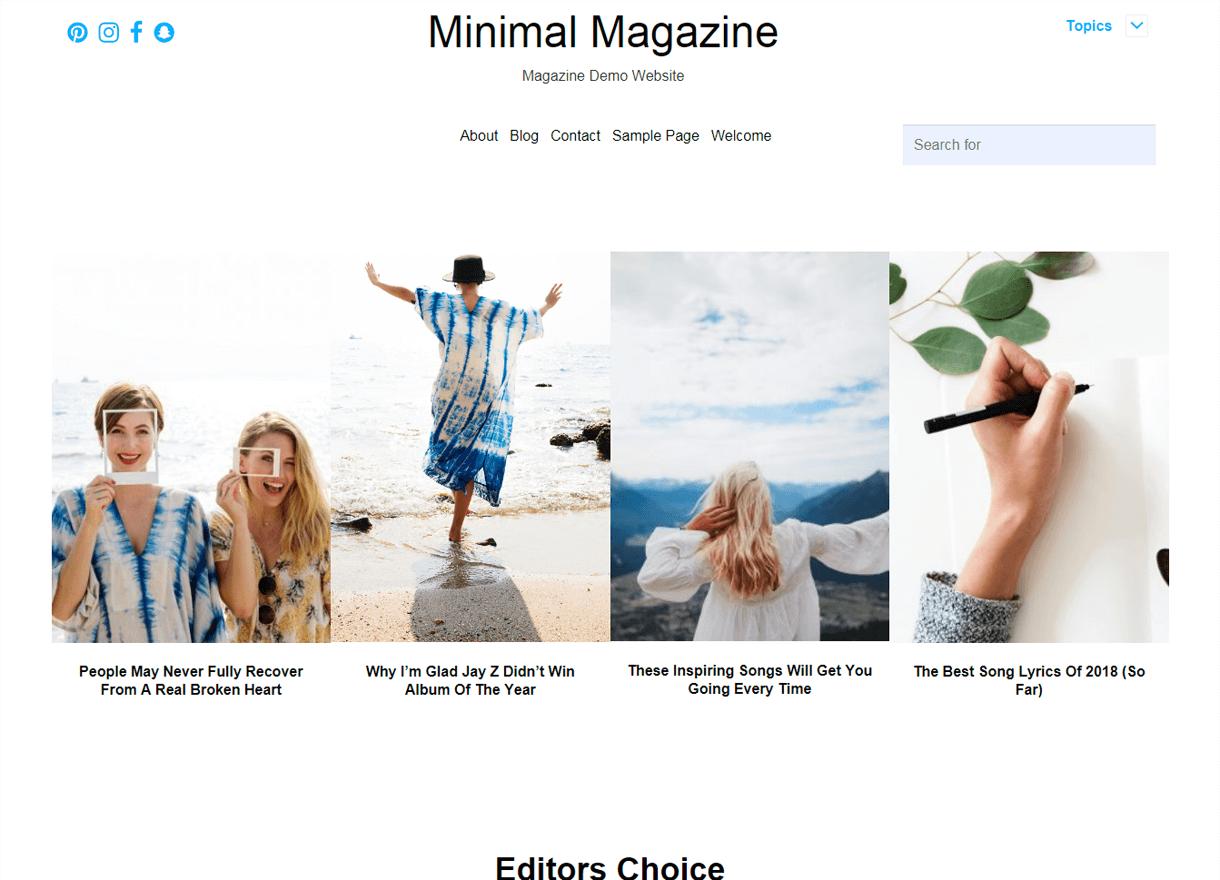 Minimal Magazine-Best Free WordPress Themes April 2018