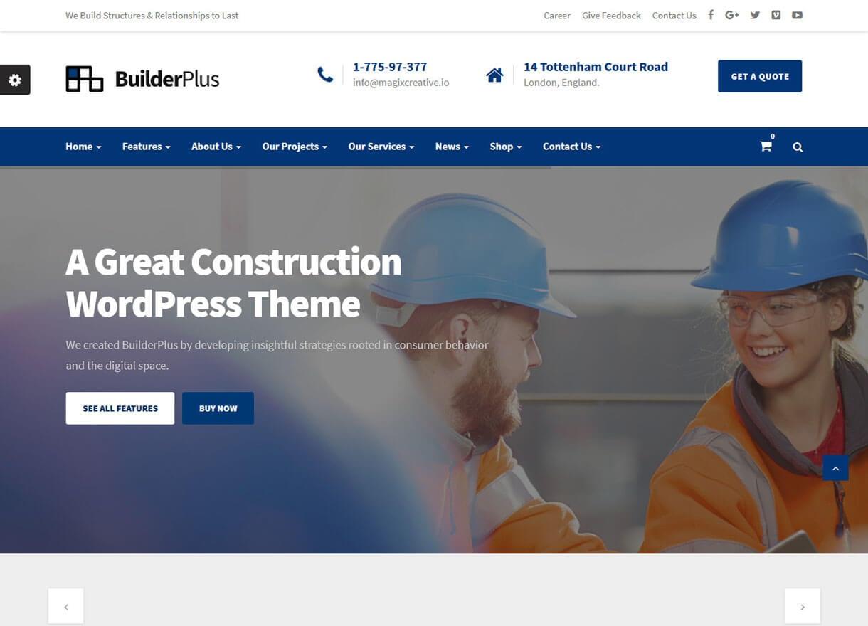 BuilderPlus-Best Premium WordPress Construction Company Themes 2018