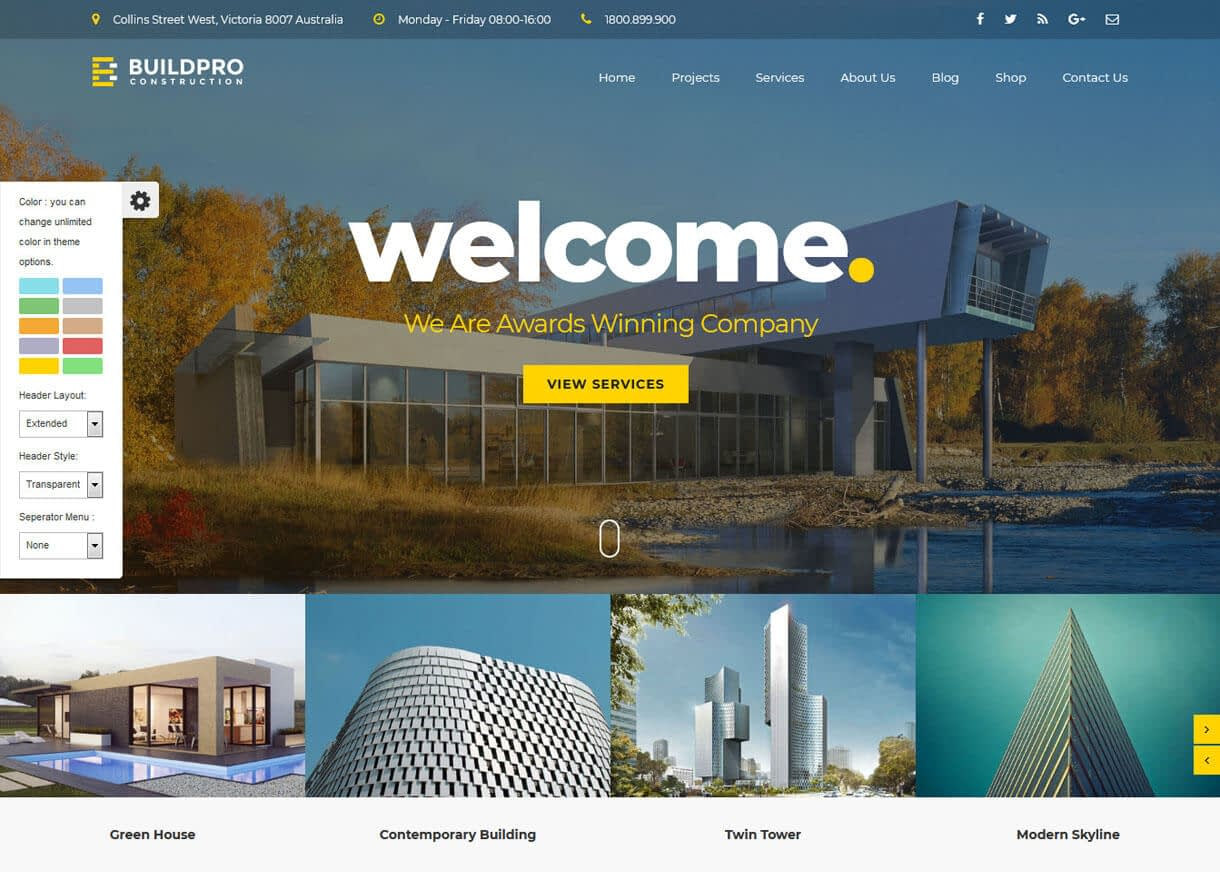 BuildPro-Best Premium WordPress Construction Company Themes 2018
