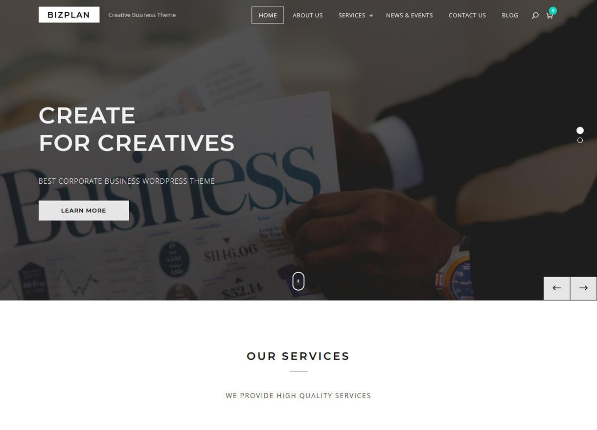 bizplan best free wordpress themes february - 21+ Best Free WordPress Themes February 2018