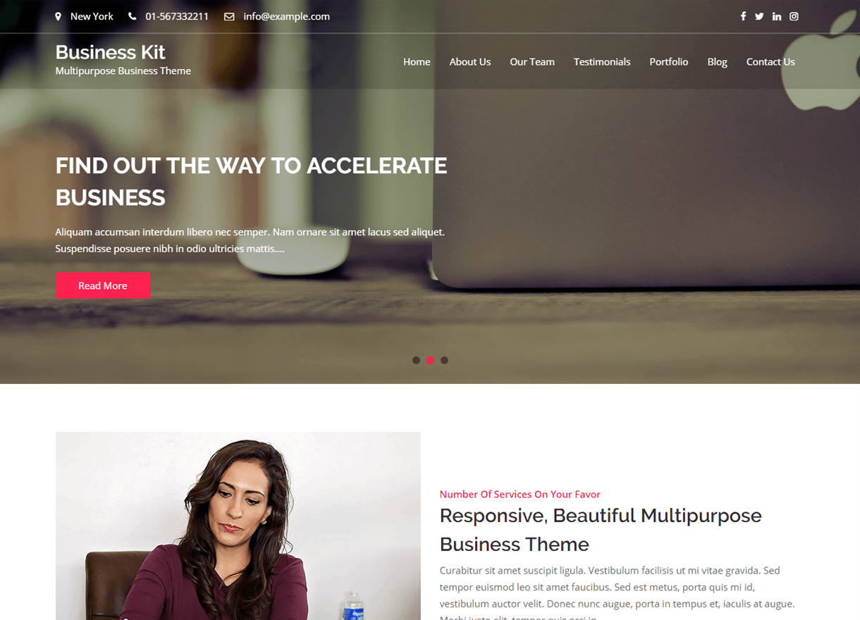 business kit best free wordpress themes february - 21+ Best Free WordPress Themes February 2018