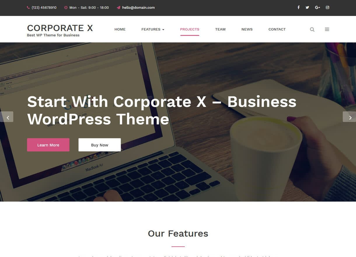 Corporate X-Best Free WordPress Themes February