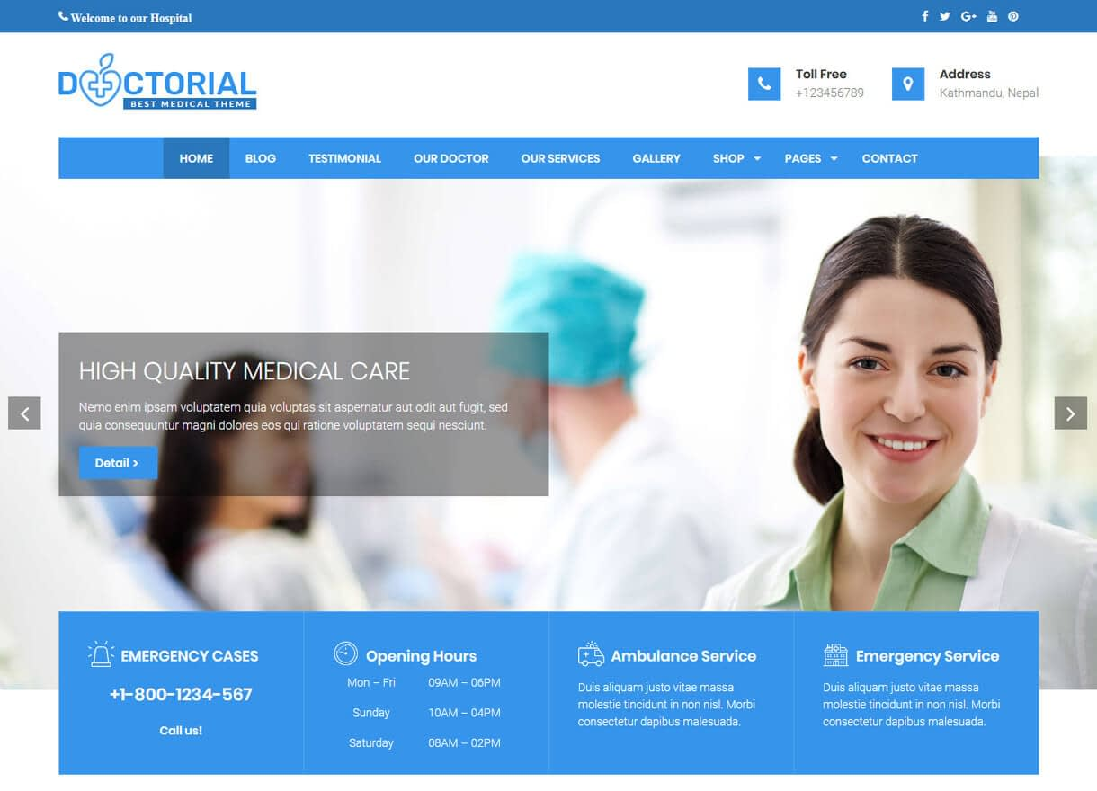 Doctorial-Best Free WordPress Themes February