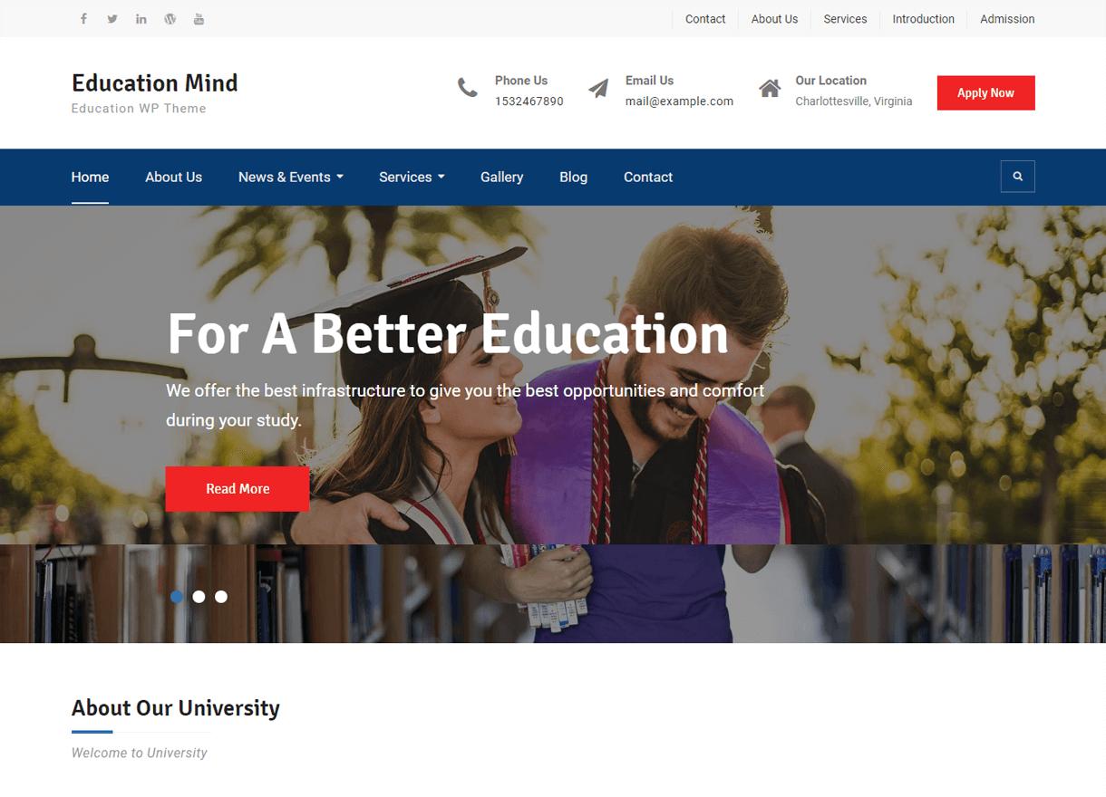 Education Mind-Best Free WordPress Themes February