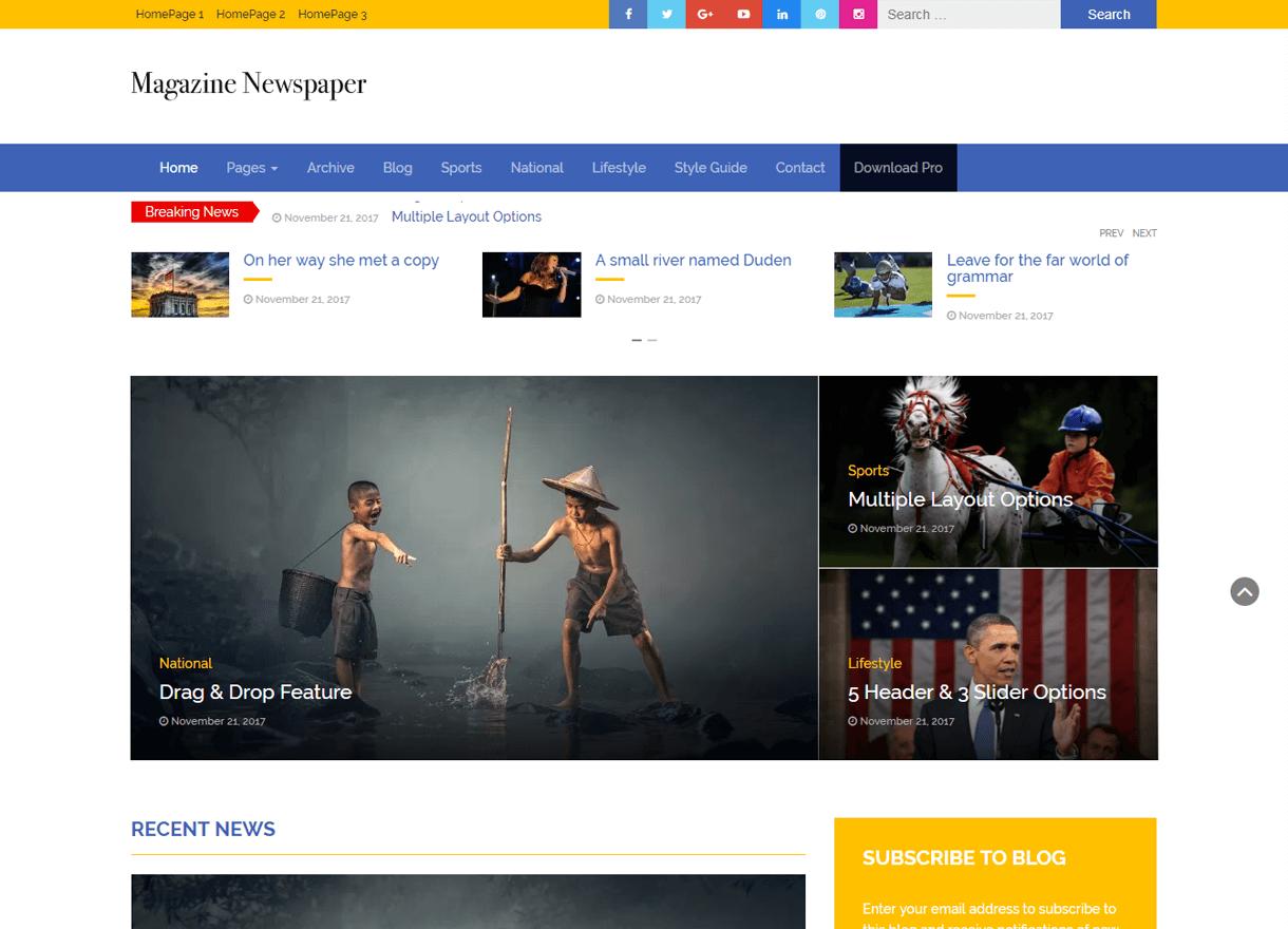 magazine newspaper best free wordpress themes february - 21+ Best Free WordPress Themes February 2018