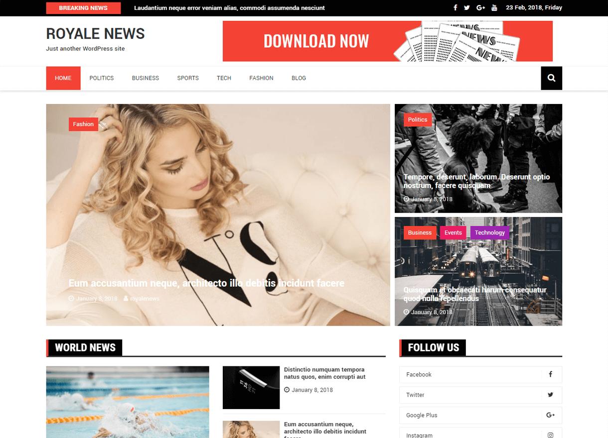 Royale News-Best Free WordPress Themes February