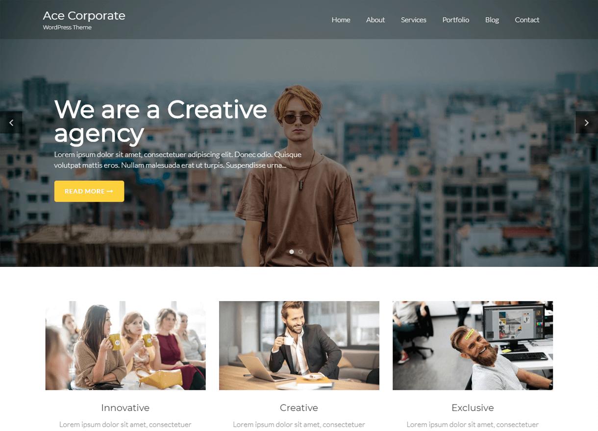 ace corporate best free wordpress themes april - 21+ Best Free WordPress Themes April 2018