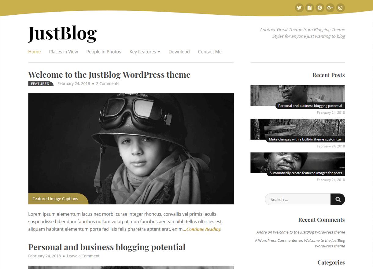 justblog best free wordpress themes april - 21+ Best Free WordPress Themes April 2018