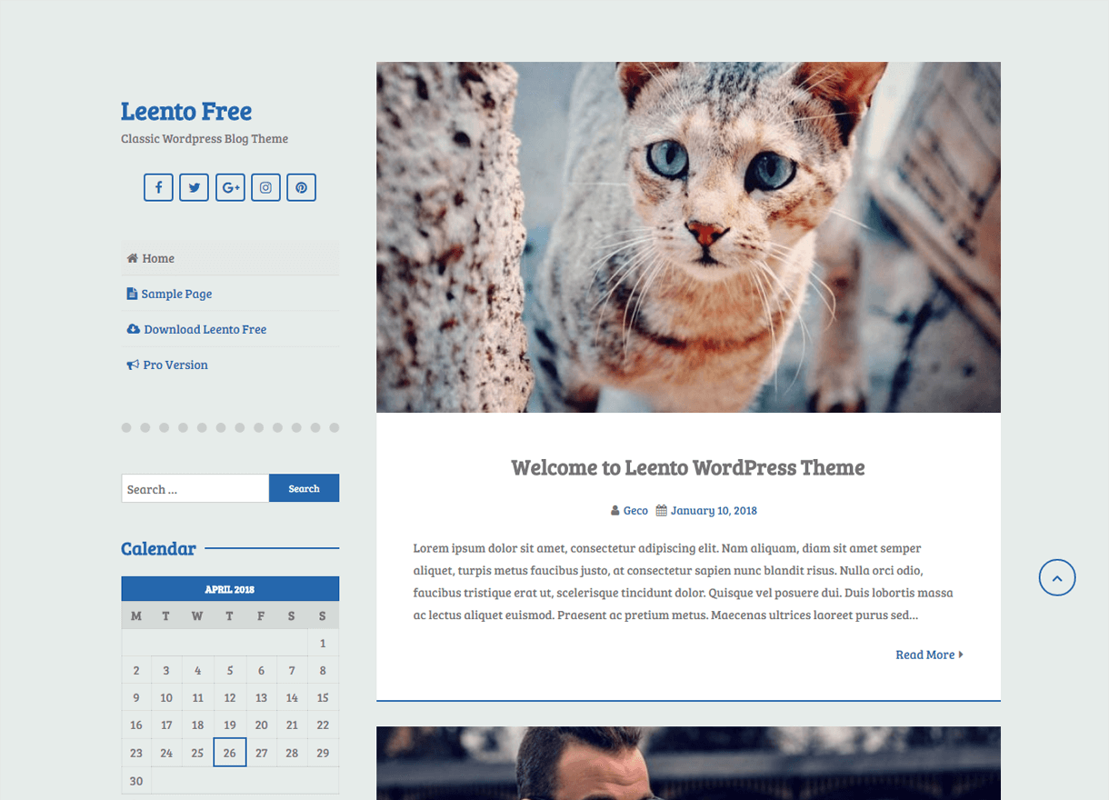 leento best free wordpress themes april - 21+ Best Free WordPress Themes April 2018