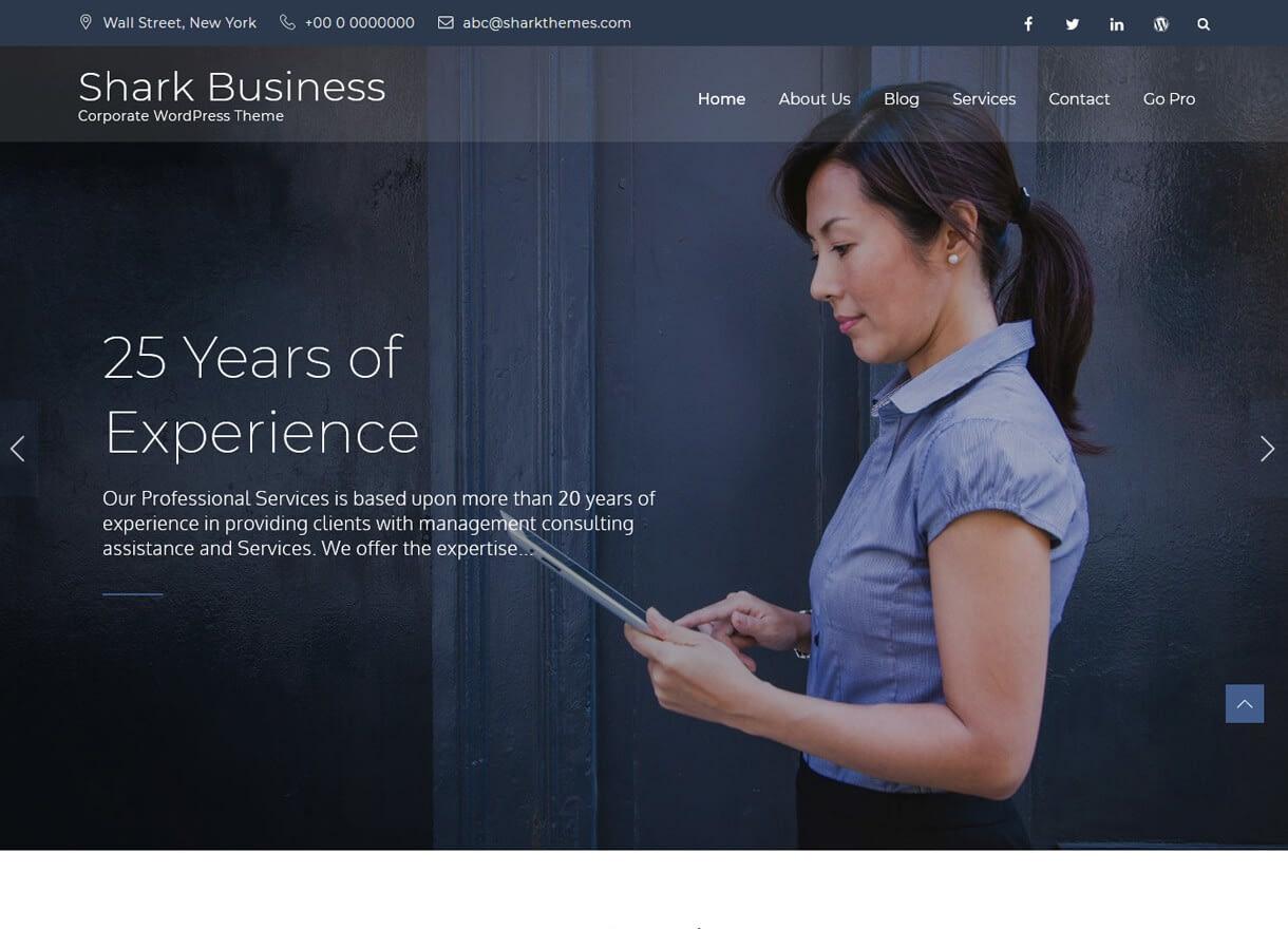 shark business best free wordpress themes april - 21+ Best Free WordPress Themes April 2018