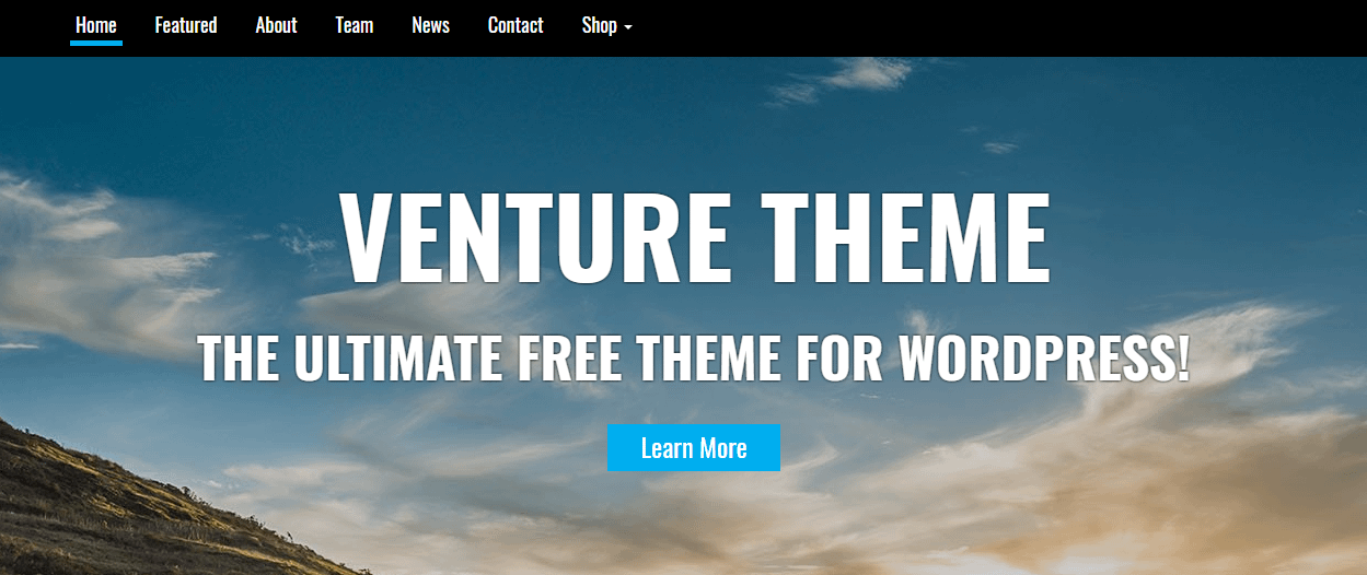 venture - 21+ Best Free One Page WordPress Themes and Templates 2019
