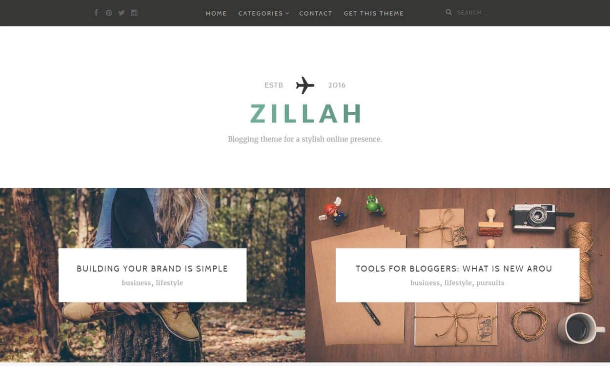 Zillah Best free WordPress Theme November 2016