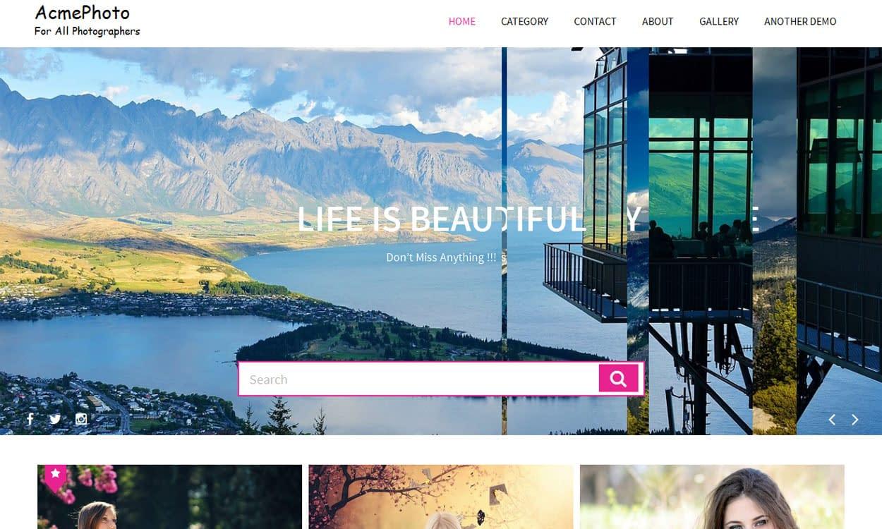 AcmePhoto - Best Free Photography WordPress Theme