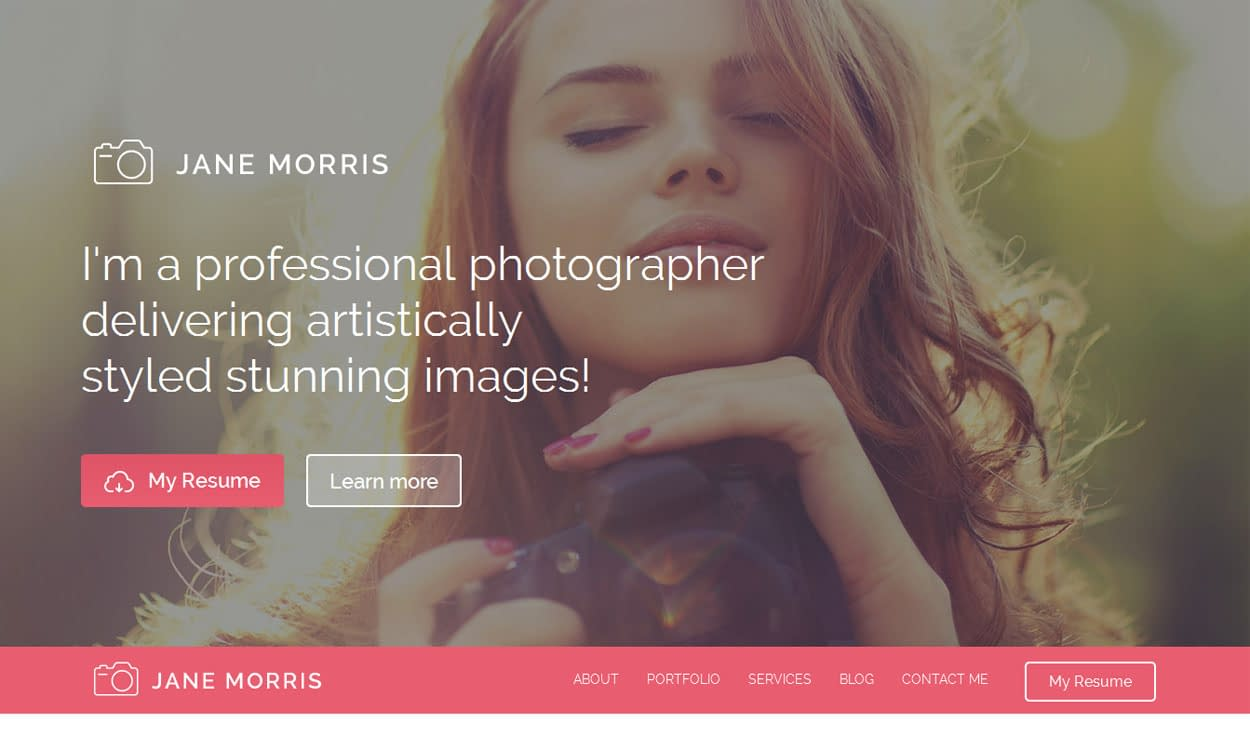 Photographer Portfolio - Best Free Photography WordPress Theme