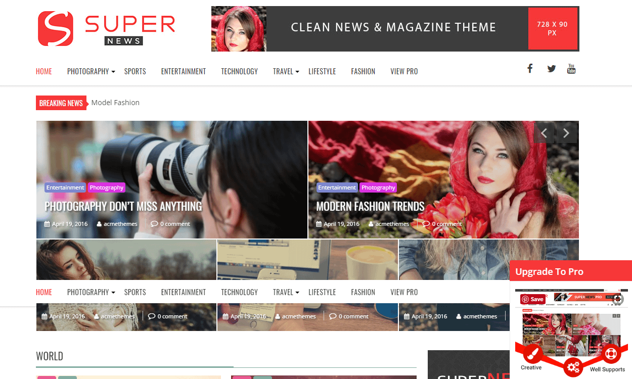 SuperNews - Best Free WordPress News-Magazine/Online Editorial Themes