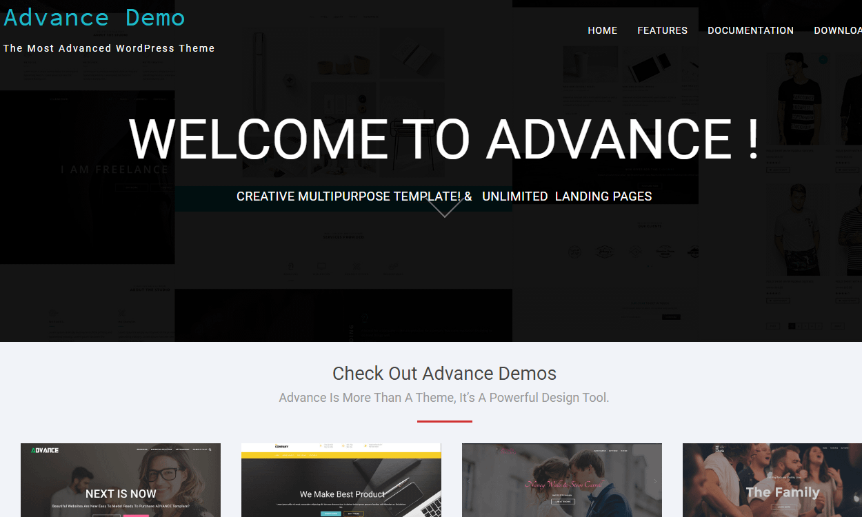 advance - 21+ Best Free One Page WordPress Themes and Templates 2019