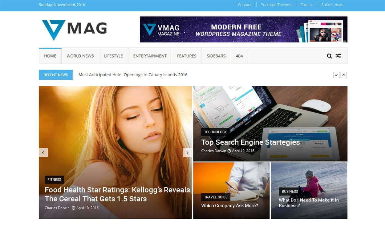 VMag - 11+ Best Free Responsive WordPress Themes November 2016