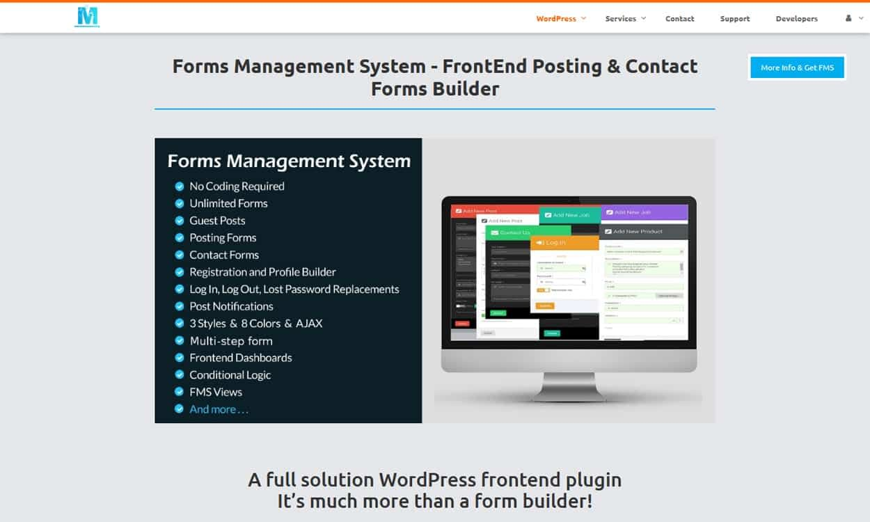 Frontend form wordpress