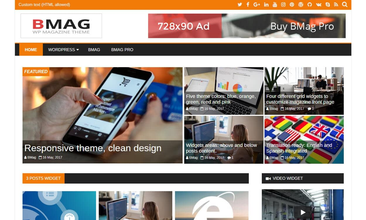 bmag - 25+ Best Free WordPress Themes August 2018