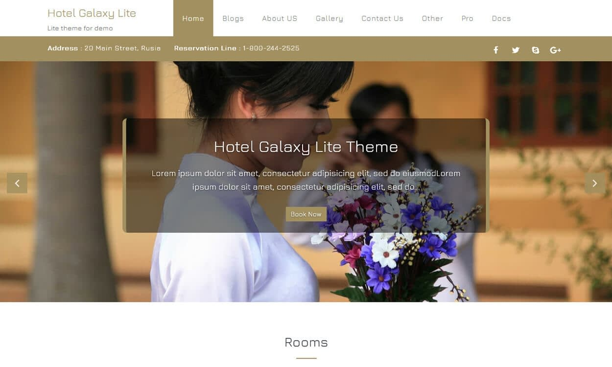 Hotel Galaxy Lite - Best Free Hotel Resort WordPress Themes Latest