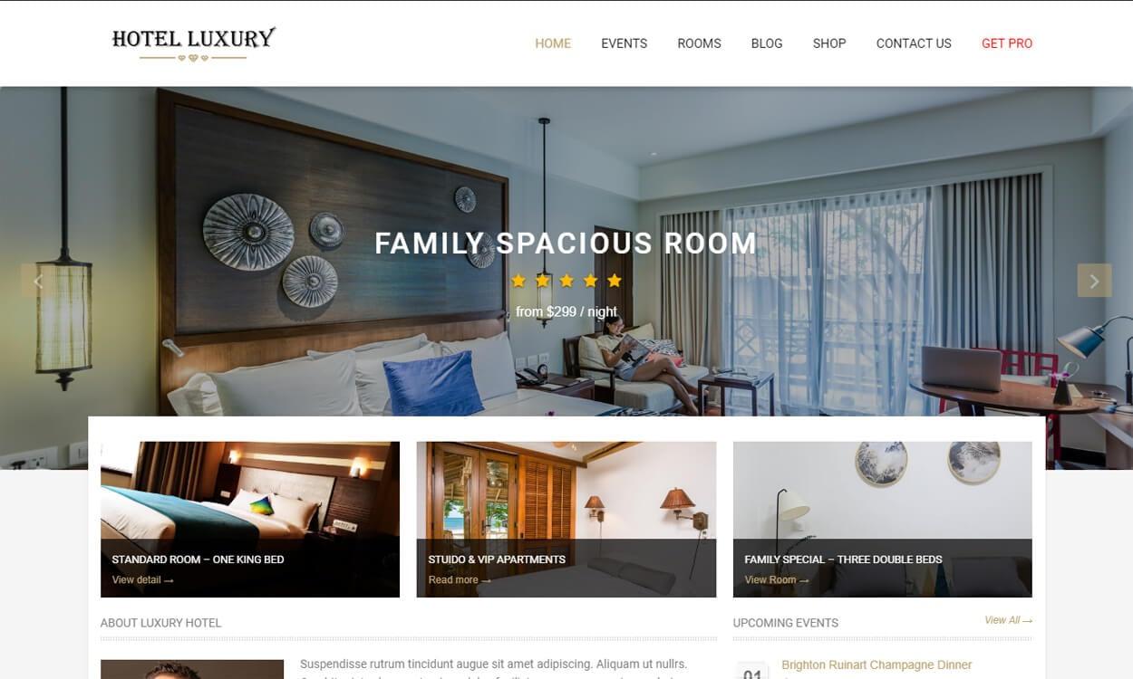 Hotel Luxury - Best Free Hotel Resort WordPress Themes Latest