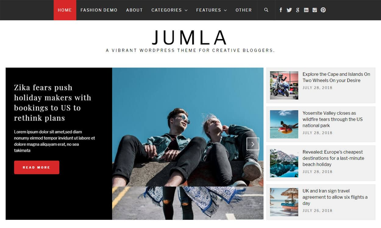 jumla - 25+ Best Free WordPress Themes August 2018