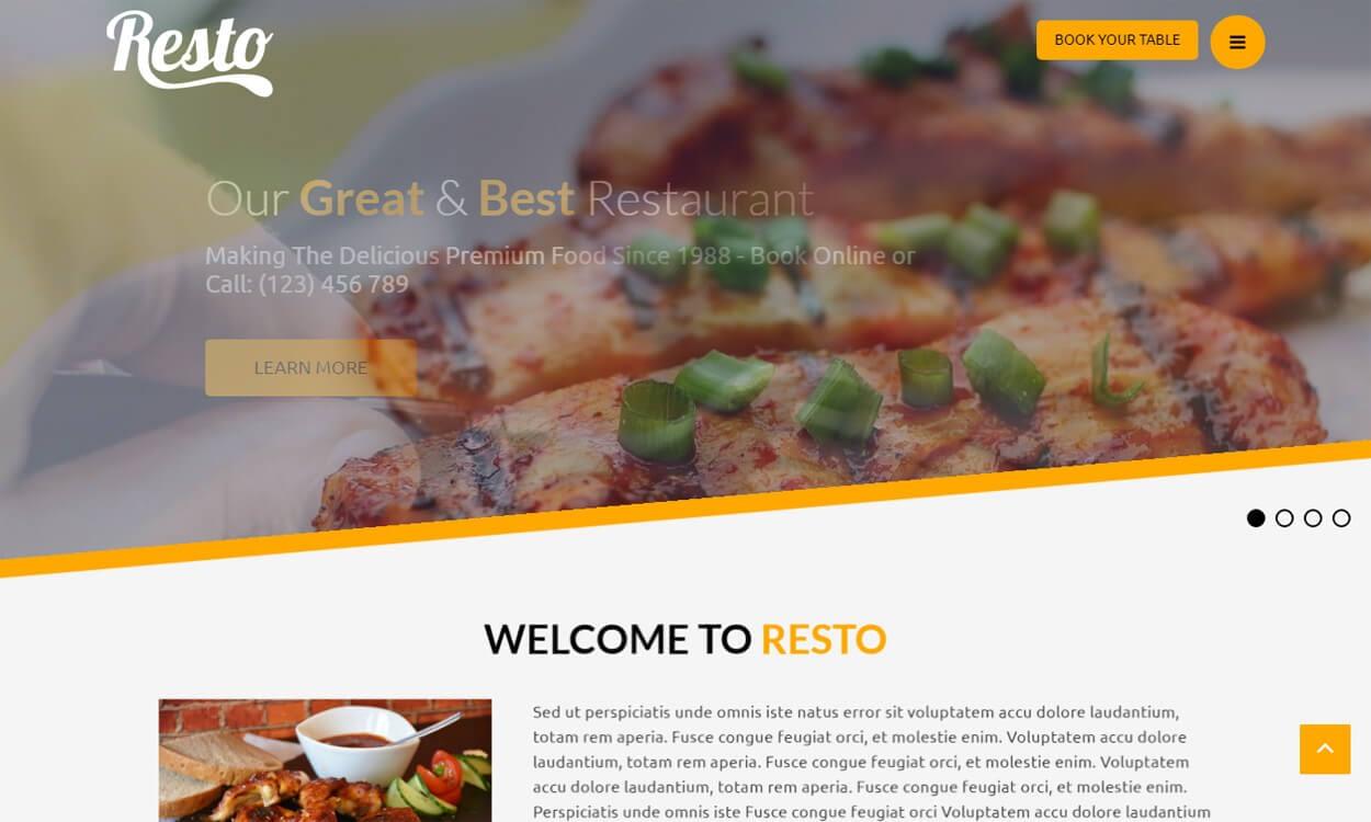 Resto - Best Free Hotel Resort WordPress Themes Latest