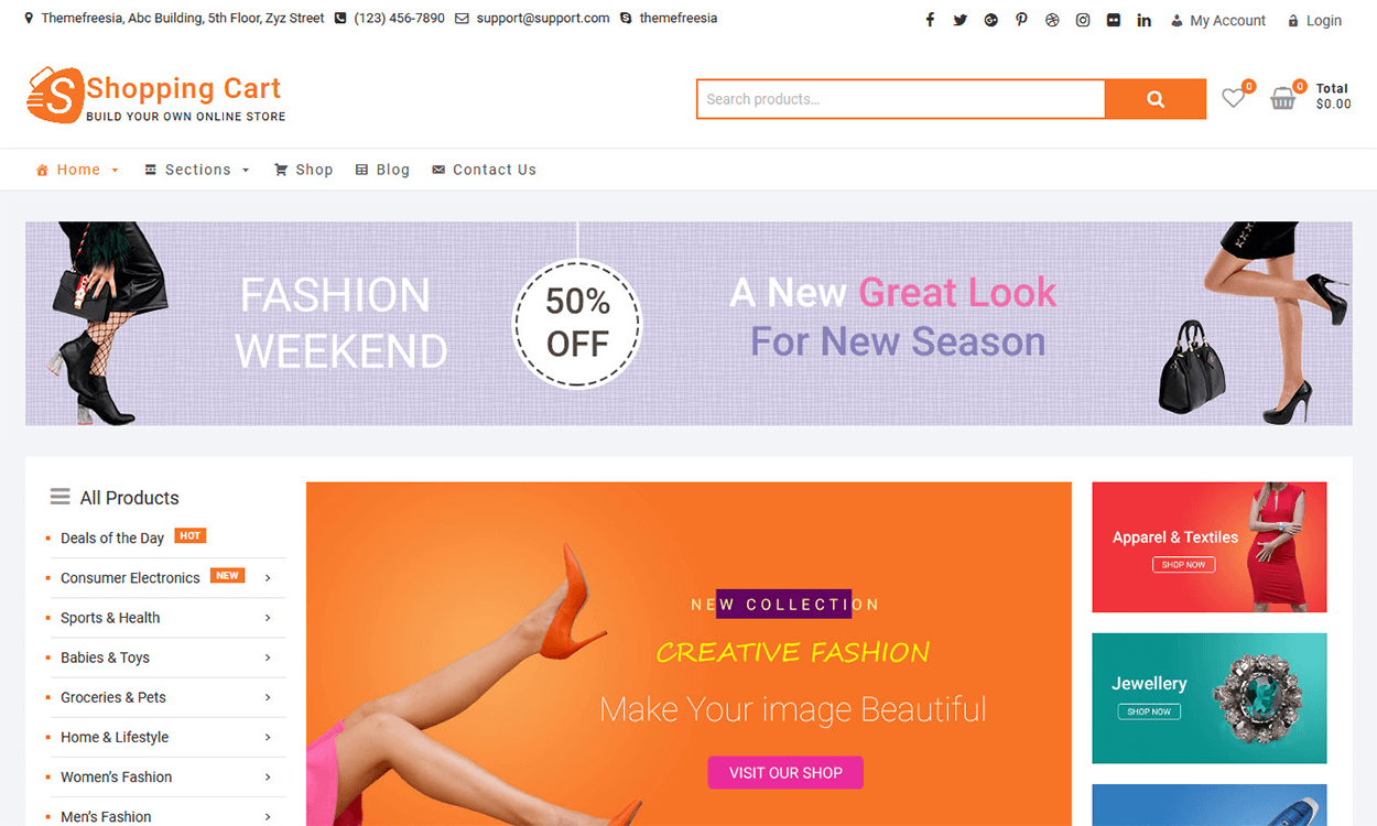 shoppingcart - 10+ Best Free WordPress eCommerce/Online Store/WooCommerce Themes for 2019