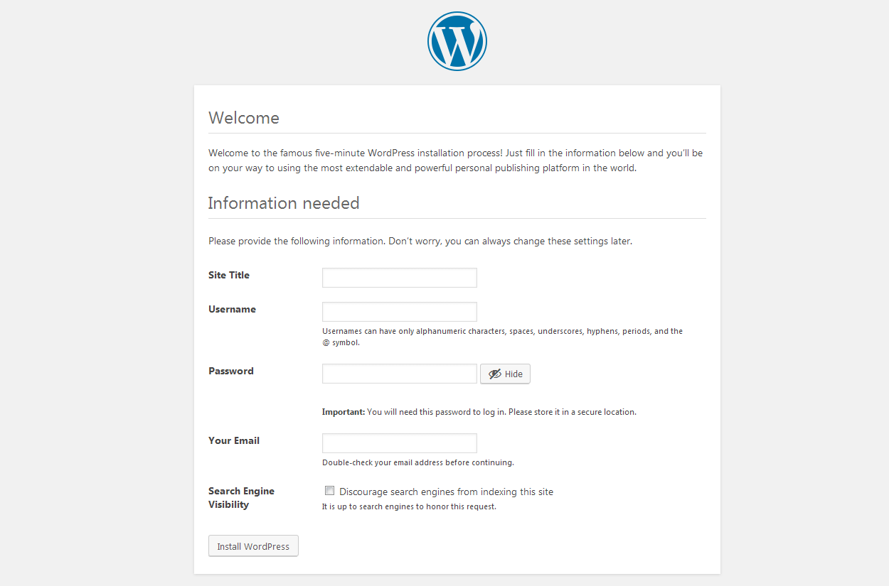 installation form - How to install WordPress in your Windows Computer