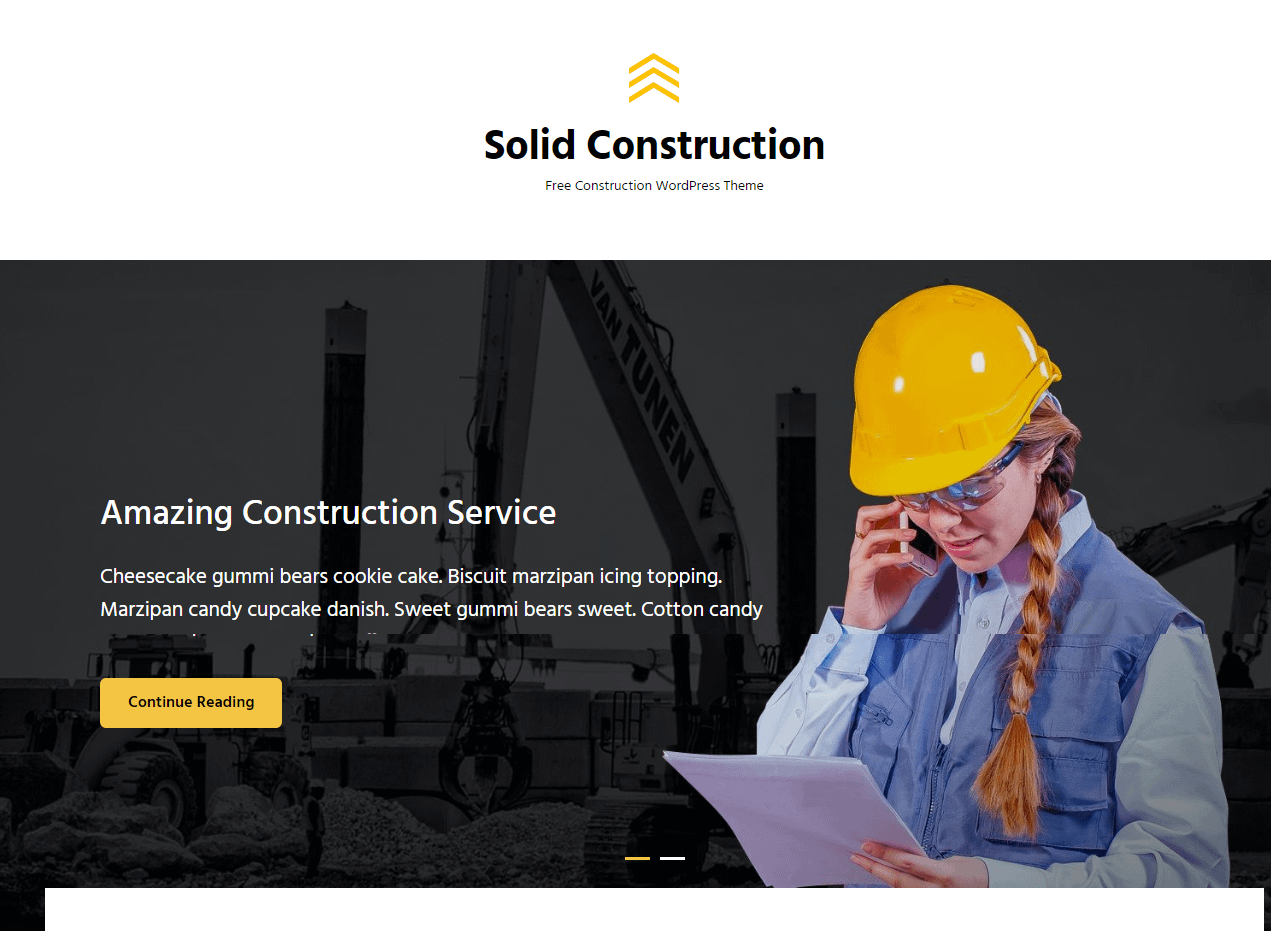 Solid Construction Free WordPress Construction Theme - 21+ Best Free WordPress Themes (July 2018 Releases: Hotel, Business, Lawyer, Blog, Magazine, Education, Photography and more...)