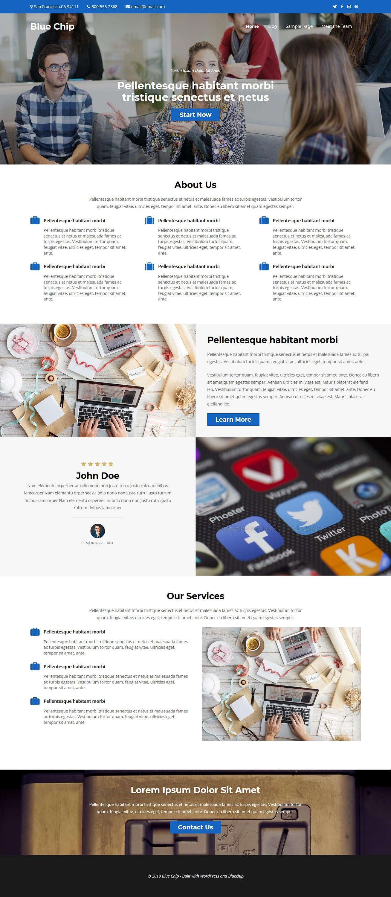 bluechip best free accounting wordpress theme - 10+ Best Free Accounting WordPress Themes