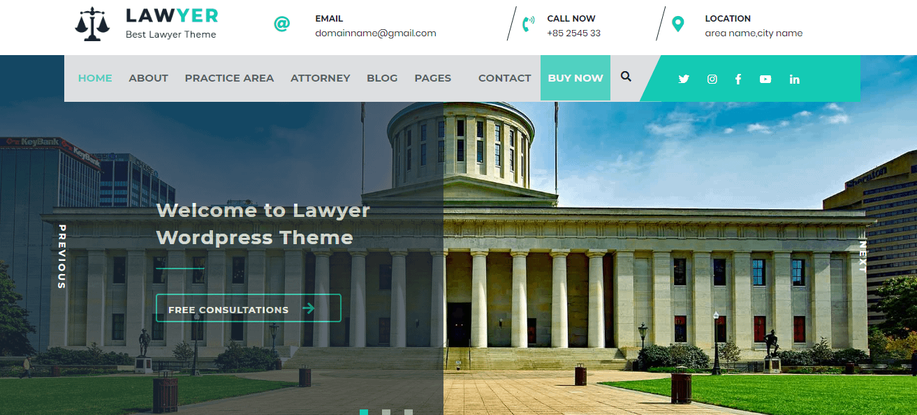 Lawyer Lite Free WordPress Lawyer Theme - 21+ Best Free WordPress Themes (July 2018 Releases: Hotel, Business, Lawyer, Blog, Magazine, Education, Photography and more...)