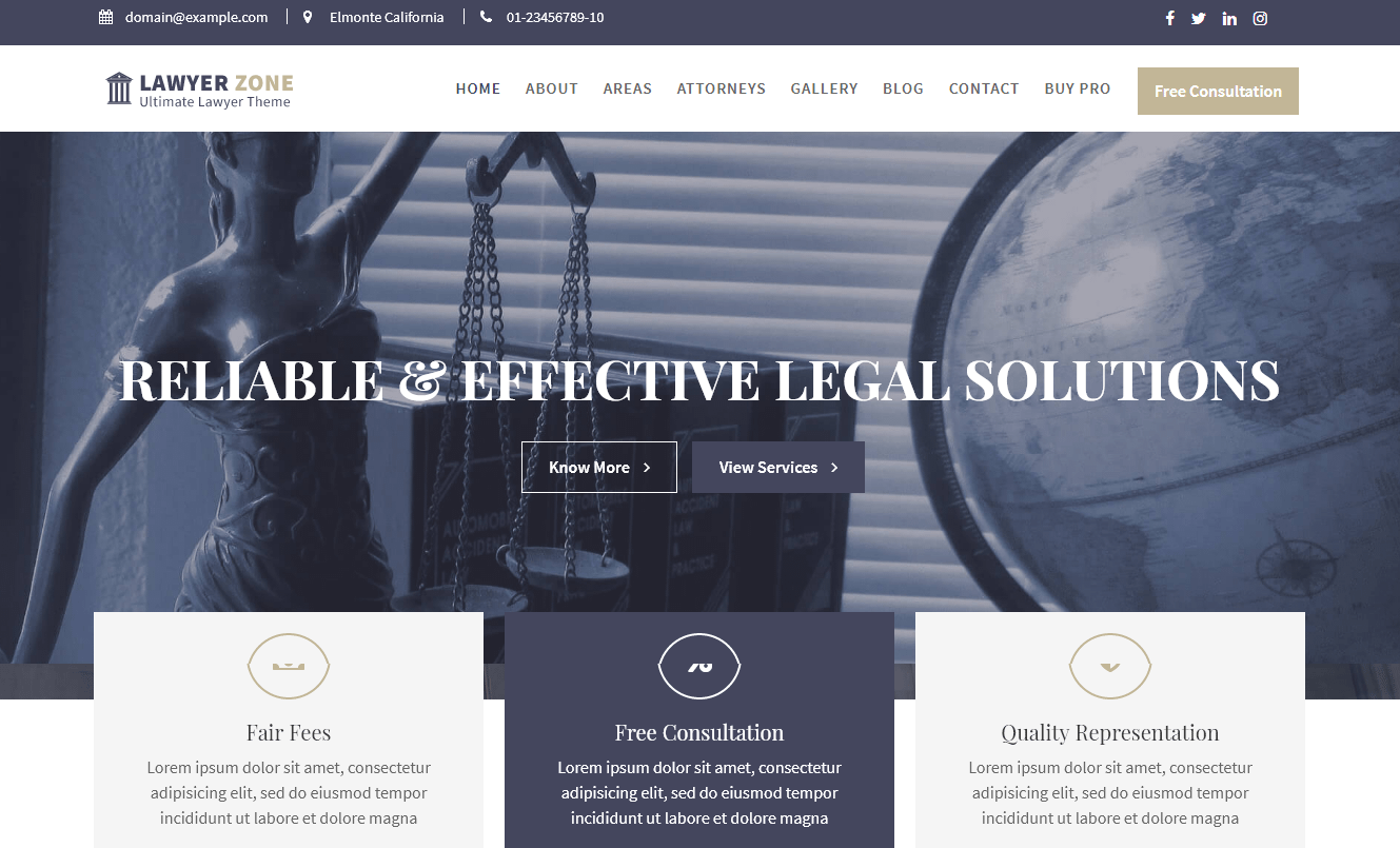 Lawyer Zone Free WordPress Lawyer Theme - 21+ Best Free WordPress Themes (July 2018 Releases: Hotel, Business, Lawyer, Blog, Magazine, Education, Photography and more...)