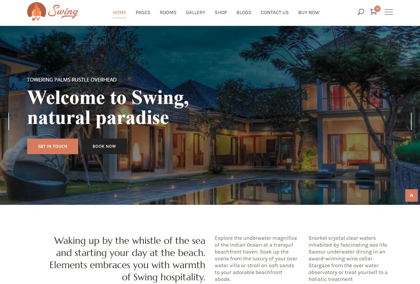 Swing - Resort and Hotel WordPress Theme