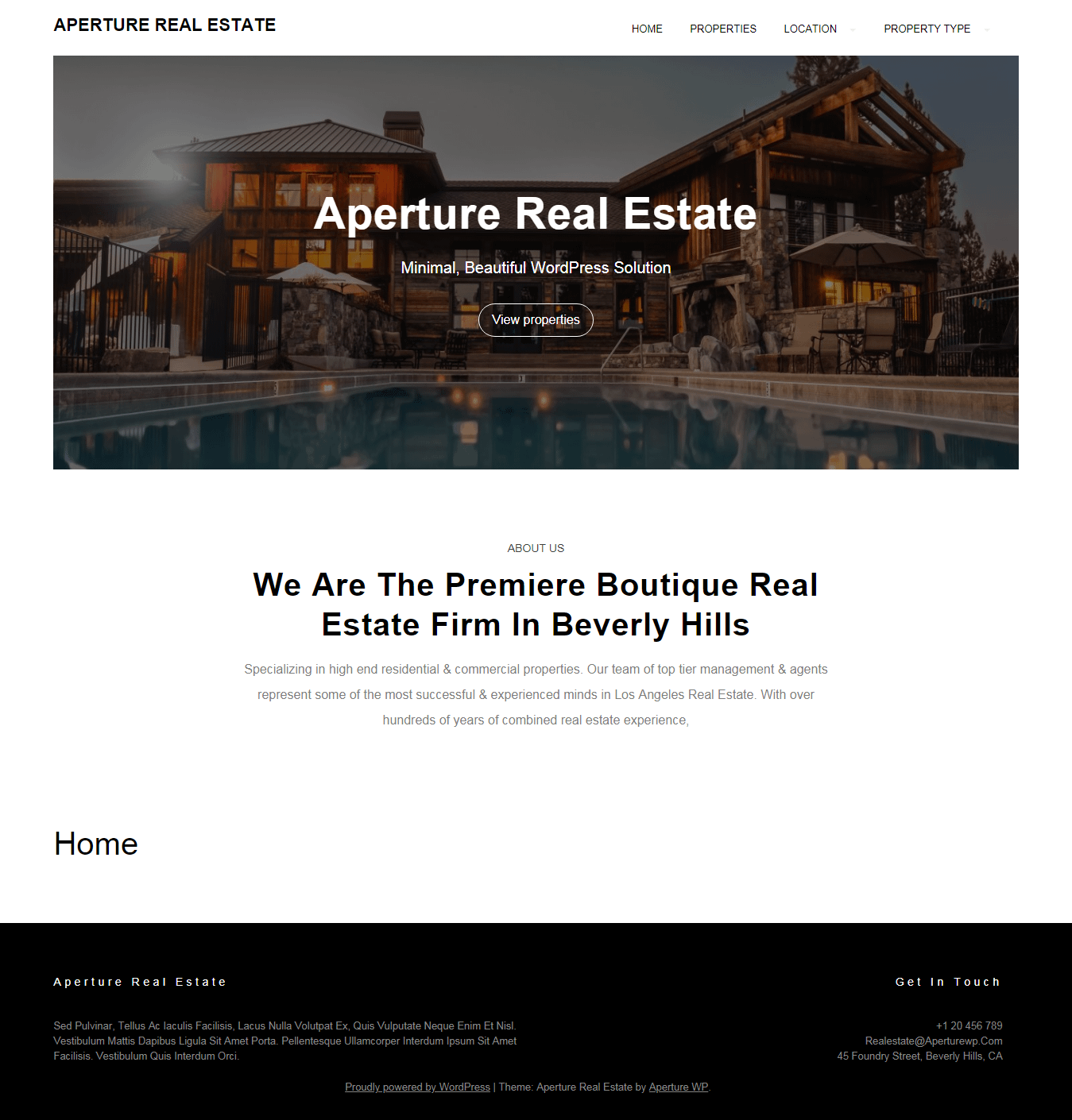 Aperture Real-Estate- Best Free Home Rental and Property WordPress Theme