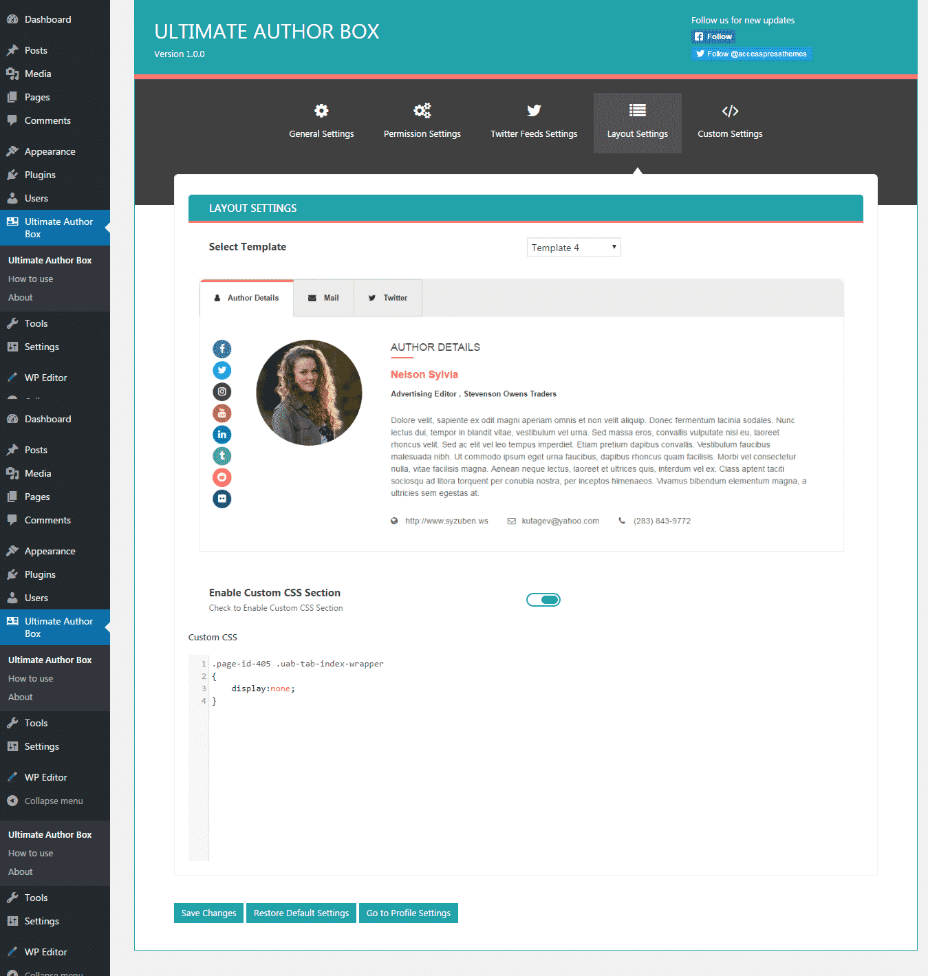Ultimate Author Box: Layout Settings