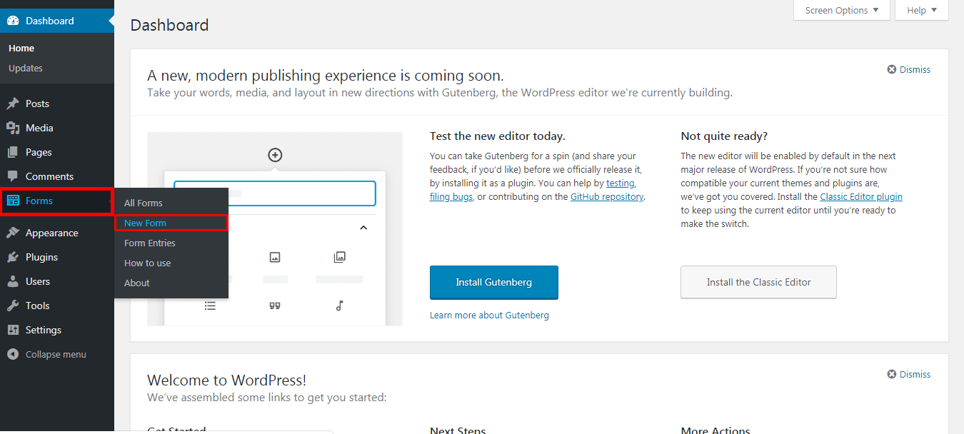 Adding new Contact Form in WordPress site