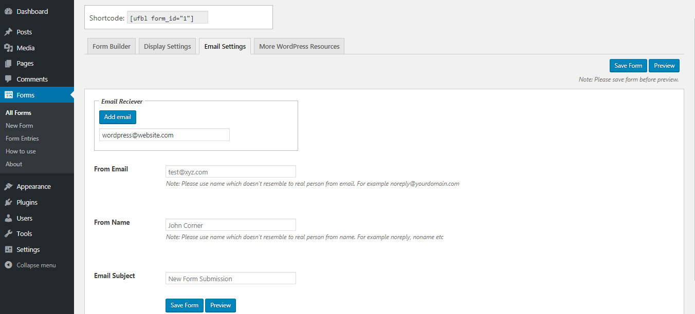 Email Settings in Contact Form to create Contact Form in WordPress