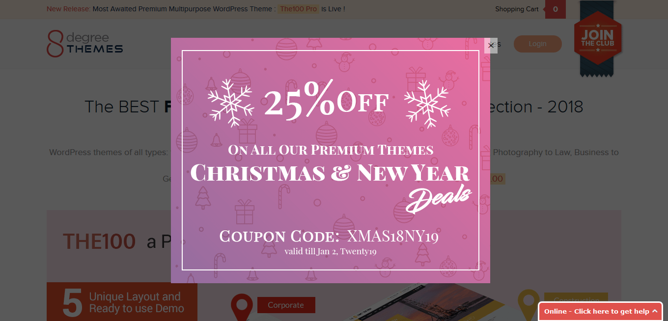8Degree Themes - WordPress Christmas and New Year Deals