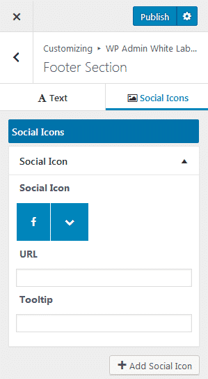 Footer Section Social Icons